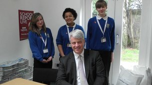 Andrew Lansley and Melbourn Village College pupils