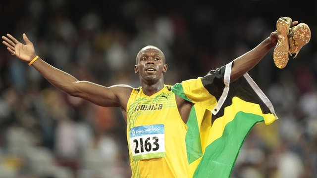 Usain Bolt celebrating after he won the 100 metres final in Beijing in 2008