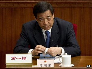 Bo Xilai at a plenary session of the National People's Congress at the Great Hall of the People in Beijing, 11 March 2012