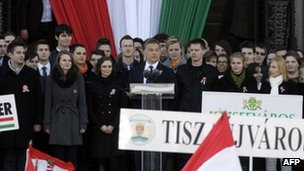 Hungarian PM Viktor Orban (centre) speaks at a rally in Budapest. Photo: 15 March 2012