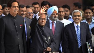 Indian Finance Minister Pranab Mukherjee arrives to present the budget