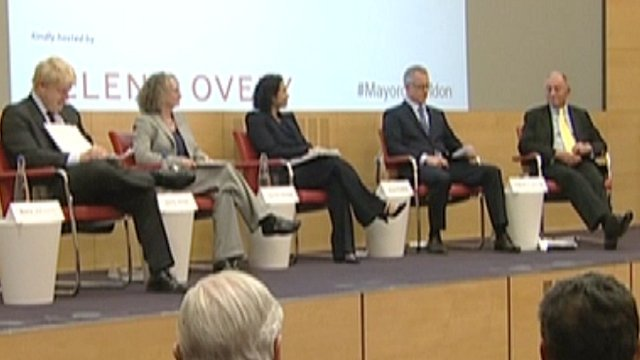 The mayoral candidates on stage