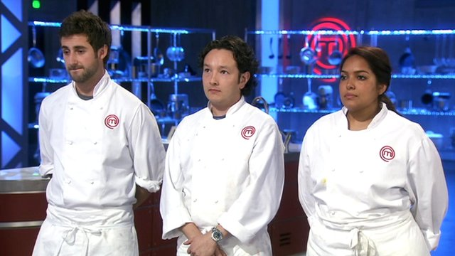 MasterChef finalists (from left) Tom Rennolds, Andrew Kojima and Shelina Permalloo