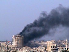 Building on fire in Homs