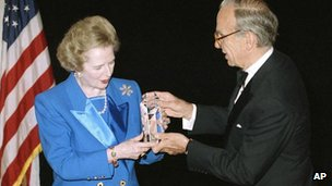 Lady Thatcher accepting the United Cerebral Palsy of New York's 37th Humanitarian Award in New York from Rupert Murdoch in 1991