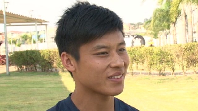 Chinese footballer Chen Zhizhao in Brazil