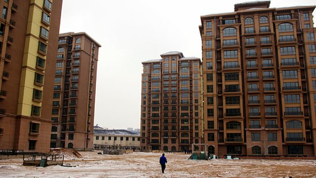 Empty apartment blocks, Ordos, Inner Mongolia