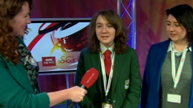 School Reporters from Antrim talk about News Day on BBC News