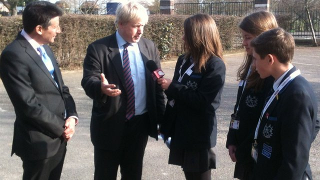 Lord Coe and London Mayor Boris Johnson are grilled by School Reporters from Bromley