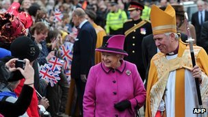 The Bishop of Leicester with the Queen on a recent