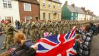 Soldiers from 3rd Battalion, The Yorkshire Regiment parade through Warminster