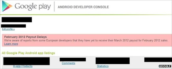 Google Play Android developer console
