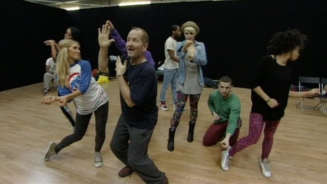 Eddie the Eagle Edwards practising for the BBC's Let's Dance for Sport Relief