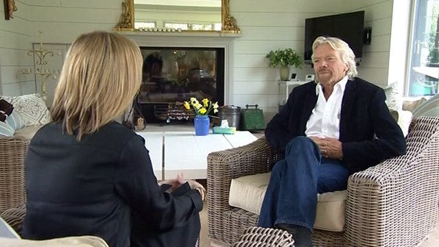 Political editor Louise Stewart with Sir Richard Branson