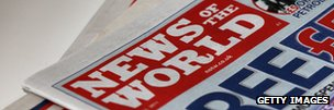 Close-up of News of the World newspapers