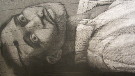 Painting by Youssef Abdelke showing a man lying dead, a bullet clean through his forehead