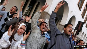 Unemployed graduates protest in Rabat (14 March 2012)