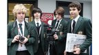 Harry, Sam, Liam and James of Cheadle Hulme School pose with their recording equipment