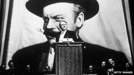 Orson Welles takes the lead role in his film 'Citizen Kane' in 1941
