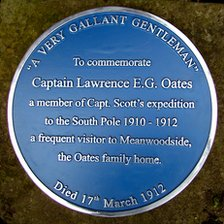 Blue plaque to commemorate Captain Lawrence Oates