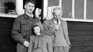 Jennifer Mack with her grandfather Percy Hunter (right) and father Cyril Hunter in 1947