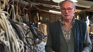 Tom Grapes at Hunter's Yard boat shed