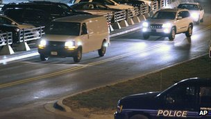 White van believed to be carrying Sgt Bales leaves Kansas City International Airport