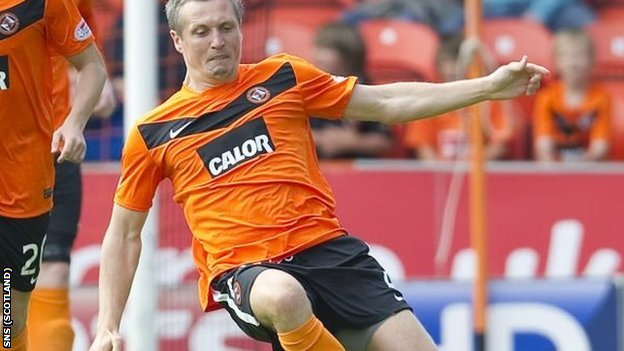 Severin during one of his 18 appearances in two years at Tannadice