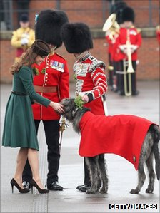 The duchess presenting a sprig of shamrock to a six-year-old Irish Wolfhound