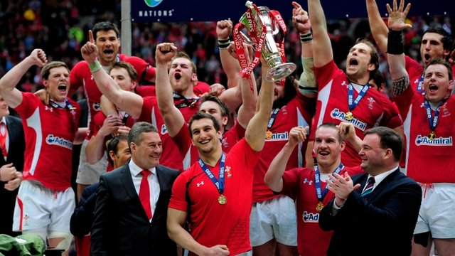 Welsh captain Sam Warburton lifts the Six Nations trophy