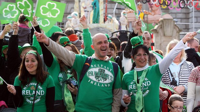 People celebrating St Patrick's Day in Belfast