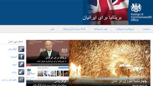 A screen-grab of the UK for Iranians site