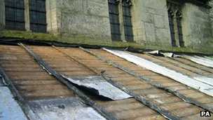 A church roof with lead theft damage