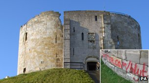 Clifford&#039;s Tower with graffiti (inset)