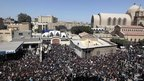 Crowds outside Cairo&#039;s main cathedral - 18 March