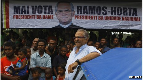 Jose Ramos-Horta smiles as he his seen with his supporters at a market in Ermera district March 12, 2012