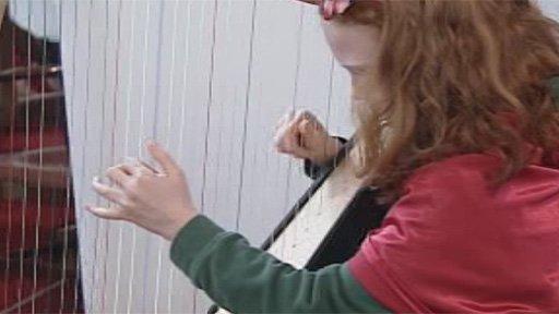 Harpist at London Urdd