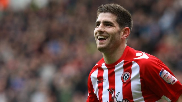 Ched Evans of Sheffield United celebrates scoring
