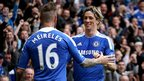 Raul Meireles and Fernando Torres celebrate for Chelsea