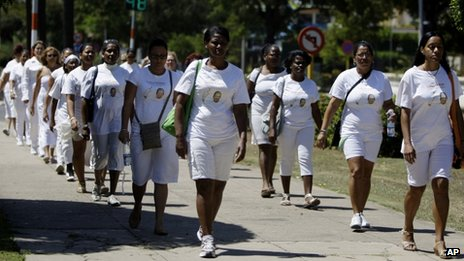 Ladies in White march in front of Santa Rita church in Havana. 18 March 2012