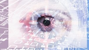 Eye imposed over computer circuit