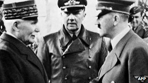 Marshal Philippe Petain (left) and Adolf Hitler (right) in 1940