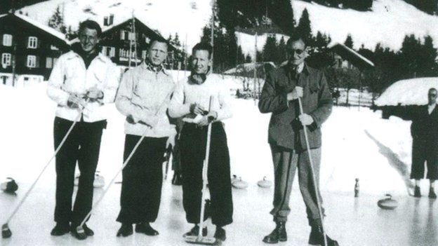 The escapees in Switzerland. Left to right: &quot;Billie&quot; Stephens, Pat Reid, Hank Wardle and Ronnie Littledale