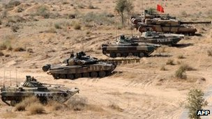 Indian army tanks in state of Rajasthan, India - 5 December 2011