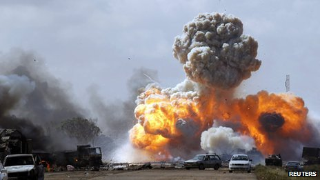 A NATO air strike on forces loyal to Colonel Gaddafi, 20 March 2011