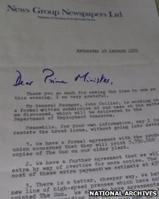 Rupert Murdoch's thank-you letter to Harold Wilson