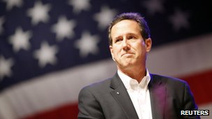 Republican presidential candidate Rick Santorum in Greenwell Springs, Louisiana, on 18 March 2012