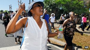 Protest over Trayvon Martin&#039;s shooting, in Titusville, Florida, on 18 March 2012