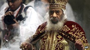 Pope Shenouda III presiding at Coptic Christian Christmas ceremonies in 2008
