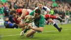 Wing Tommy Bowe extends Ireland's lead over Wales with a try in the right corner